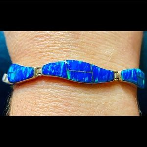 Vintage Navajo Signed Opal Inlay Sterling Bracelet